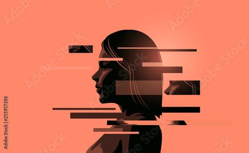 Obraz na płótnie A women coping with stress, mental health