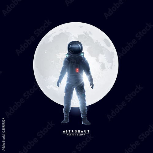 Obraz na płótnie Astronaut Spaceman In Front of The Moon