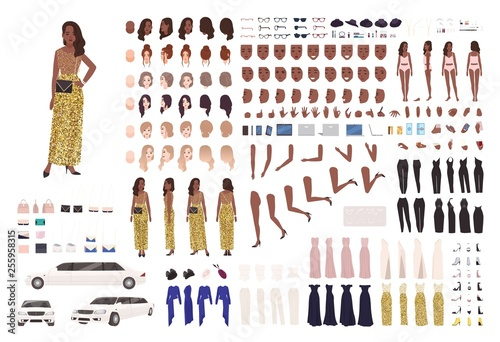 Fotografie, Obraz African American woman in evening dress constructor kit or character generator