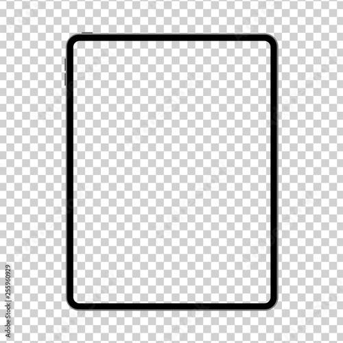 Fototapeta New design of tablet in trendy thin frame style isolated. Empty screen concept. Vector illustration obraz na płótnie