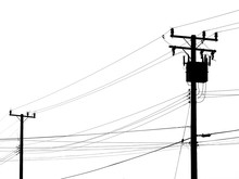 Silhouette Electric Pole On White Background