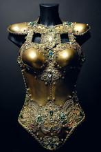 Gorgeous Golden Corset With Precious Stones, Dark Studio Background