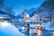 Leinwanddruck Bild Church of Ramsau in winter twilight, Bavaria, Germany