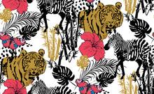Pattern Of Zebra And Tiger. Suitable For Fabric, Wrapping Paper And The Like. Vector Illustration