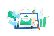 Composition With Giant Tablet PC, Letter In Envelope On Screen, Group Of Working People Or Team Of Marketers. Email Marketing, Internet Advertisement, Online Promotion. Flat Vector Illustration.