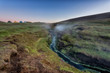 Camp in the Laugarvallardalur valley with hot springs, Iceland. Night landscape of amazing nature, outdoor travel background