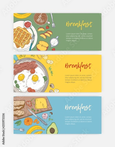 Fotografía  Set of hand drawn banner templates with tasty healthy breakfast meals and morning food - fried eggs, wafers, fruits, coffee