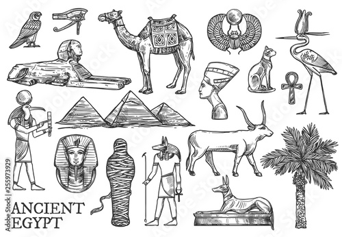 Ancient Egypt icons, Gods and landmark sketches Wallpaper Mural
