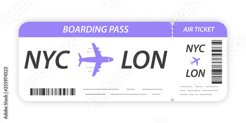 Fotografiet Airline boarding pass ticket