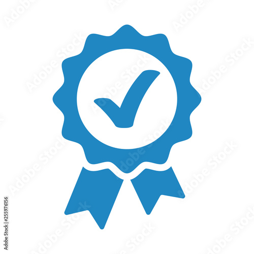 Obraz na plátně Approved, accept or certified icon medal with ribbons and check mark
