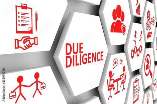 Fototapeta DUE DILIGENCE concept cell background 3d illustration