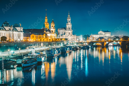 Canvas Prints Ship Dresden skyline with Elbe river at twilight, Germany