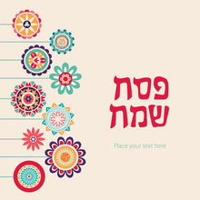 Happy Passover Vector Card Template. Cute Flowers Illustration. Spring Blossom Greeting Background. Abstract Lettering Template