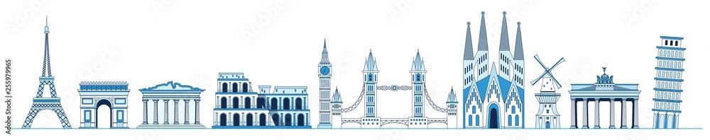 Fototapety, obrazy: Line art set of European monuments and landmarks, Eiffel tower, Triumphal Arch, Parthenon, Leaning Tower of Pisa, Tower Bridge, Sagrada Familia, Brandenburg gate, Elizabeth Tower, vector.