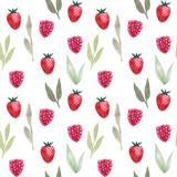 Wzór. Akwarela truskawka i malina, liście. Ręcznie rysowane lato ilustracja. Projektowanie tkanin, opakowań, tekstyliów, okładek, papieru, artykułów piśmiennych, scrapbookingu, pakowania, odzieży - 255980305