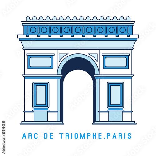 Fotografía Line art Triumphal Arch, Arc de Triomphe, Paris, European famous monument, vector illustration in flat style