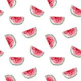 Wzór. Akwarela owoc arbuza. Ręcznie rysowane lato ilustracja. Projektowanie tkanin, opakowań, tekstyliów, okładek, pocztówek, papieru, papeterii, scrapbookingu, opakowania, odzieży, kart - 255980595