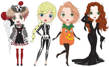 Set Of Hand Drawn Woman In Fashion Girls In Halloween Costumes. Cartoon Character. Scary Witch, Pumpkin, Skeleton, Clown Costumes. Halloween Girls.