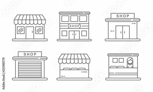 Valokuvatapetti Set of store icon line design. Store vector illustration