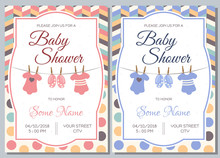 Set Of Baby Shower Invitation Card Babies Boy And Girl. Baby Frame With Boy/girl And Stickers On Light Background. It's A Boy. It's A Girl.