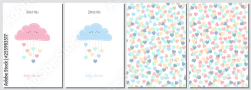 Fotomural  Set of baby shower invitation card babies boy and girl