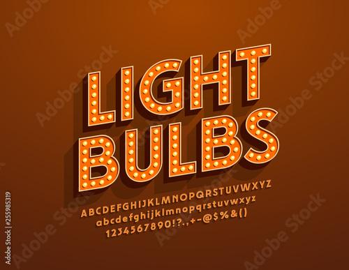 Vector Light Bulbs retro style Font Canvas Print