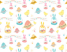 Happy Easter Pattern Backgroun...