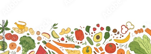 Cuisine Horizontal backdrop with border consisted of fresh organic food. Banner template with tasty eco wholesome ripe vegetables, fruits, delicious healthy products. Hand drawn realistic vector illustration.