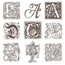 Vector Set Of Nine Decorative Hand Drawn Initial Letters. English Letters In Vintage Style. Fancy Letters With Curls. Black And White Illustration.
