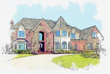Watercolor Sketch Or Illustration Of A Beautiful Residential Country Or Suburban Home. Real Estate Or Modern Housing