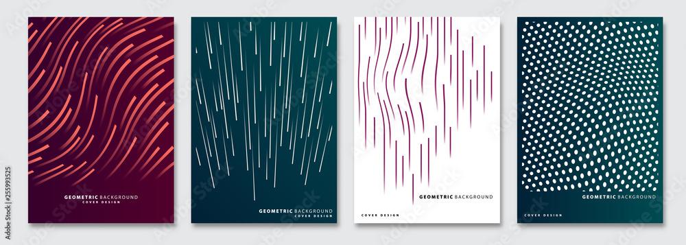 Fototapeta Cover templates set, vector geometric abstract background. Flyer, presentation, brochure, banner, poster design.