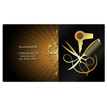 Beauty Salon And Hair Salon Business Card Design With Tool And Gold Ornament