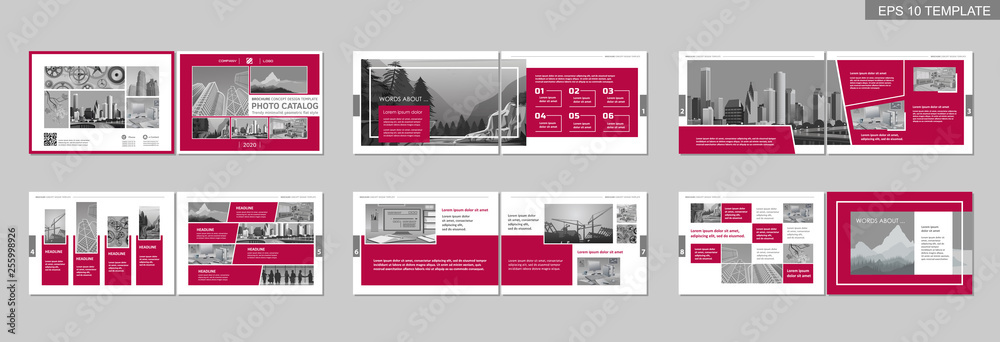 Fototapety, obrazy: Brochure creative design. Multipurpose template with cover, back and inside pages. Trendy minimalist flat geometric design. Horizontal landscape a4 format.