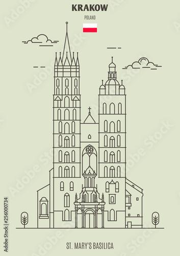 Fototapeta St. Mary's Basilica in Krakow, Poland. Landmark icon obraz