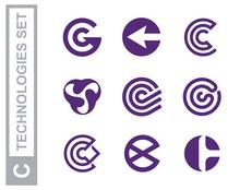 Modern Professional Set Logos C Technology In Purple Theme