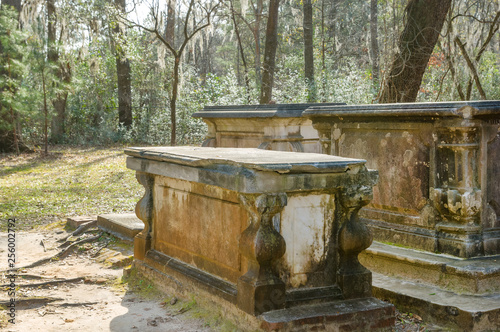 Photo  Sarcophagus from Civil War times by the ruins of Old Sheldon church in South Car