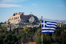 Acropolis And Greek Flag