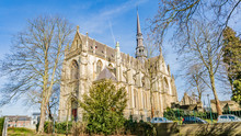 Beautiful Lateral View Of The Basilica Of The Blessed Sacrament Or Basilica Of Meerssen, Winter Sunny Day In The Proosdij Park In South Limburg In The Netherlands Holland