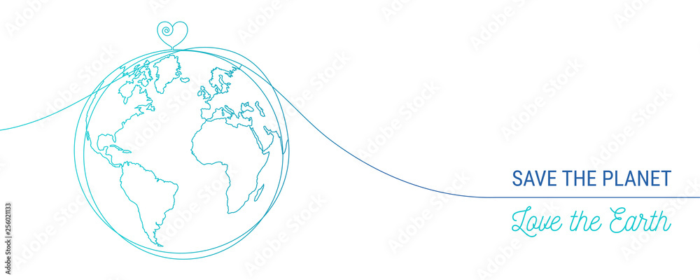 Fototapeta hand drawn save the world concept, world heart doodle
