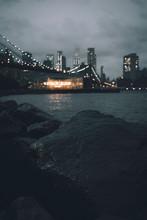 Silhouette Of Brooklyn Bridge, New York City