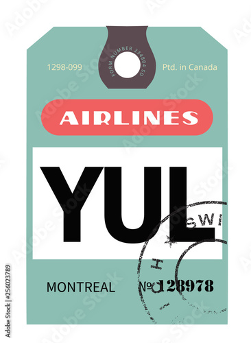 Photo  Montreal airport luggage tag