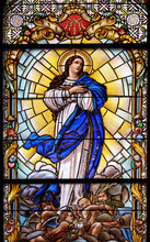 Virgin Mary, Stained Glass Window In The Parish Church Of The Visitation Of The Virgin Mary In Zagreb, Croatia