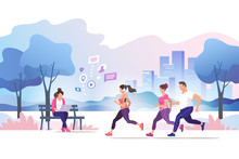 Group People Running In The City Public Park. Healthy Lifestyle. Training To Marathon, Jogging. Trendy Style Vector Illustration.