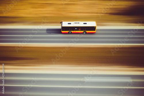 Fototapeta City bus citybus transport traffic road street speed panning motion obraz