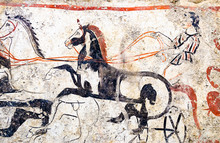 Paestum, Ancient Frescoes War Chariot In The Tomb Of The Magna Greece