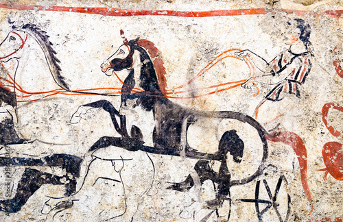 Fotografie, Obraz  Paestum, ancient frescoes war chariot in the tomb of the Magna Greece