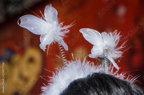 Fotografía  Fotografía macro de cabeza de mujer con adorno chino