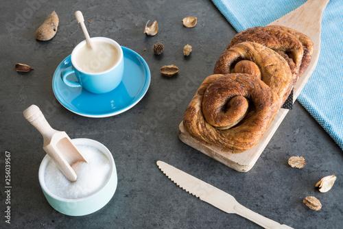 traditional Dutch cinnamon, sugar bread in a roll, called Zeeuwse Bolus Wallpaper Mural