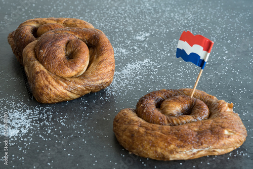 Fotomural  traditional Dutch cinnamon, sugar bread in a roll, called Zeeuwse Bolus