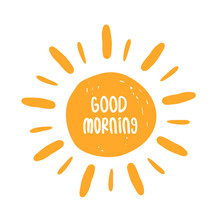 Good Morning Poster With Sun. ...